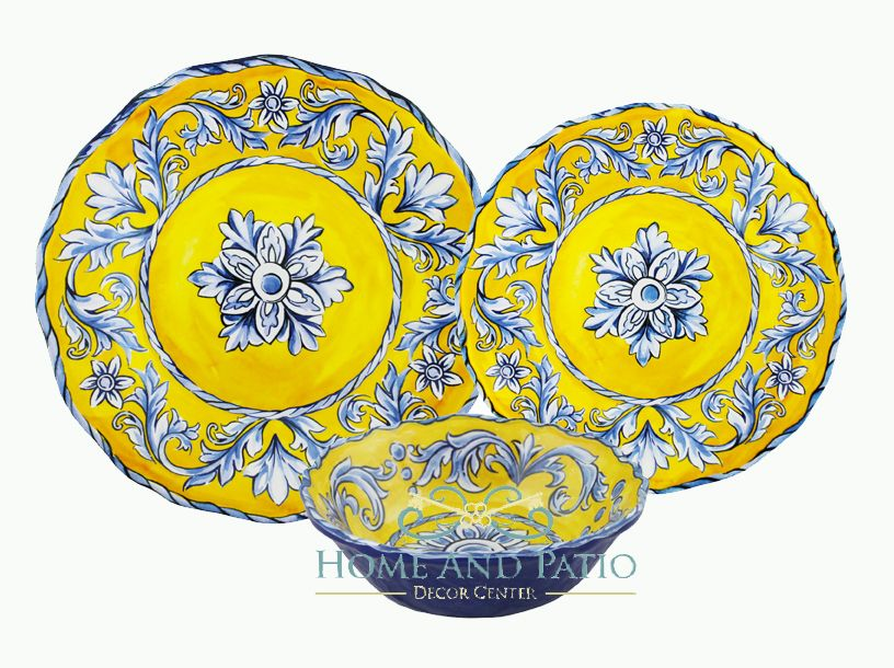 Le Cadeaux Porto Yellow/Blue 18PC Melamine Dinnerware Set For Six