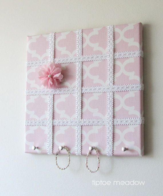Accessory Holder 12x12 Light Pink Tarika Print by TiptoeMeadow