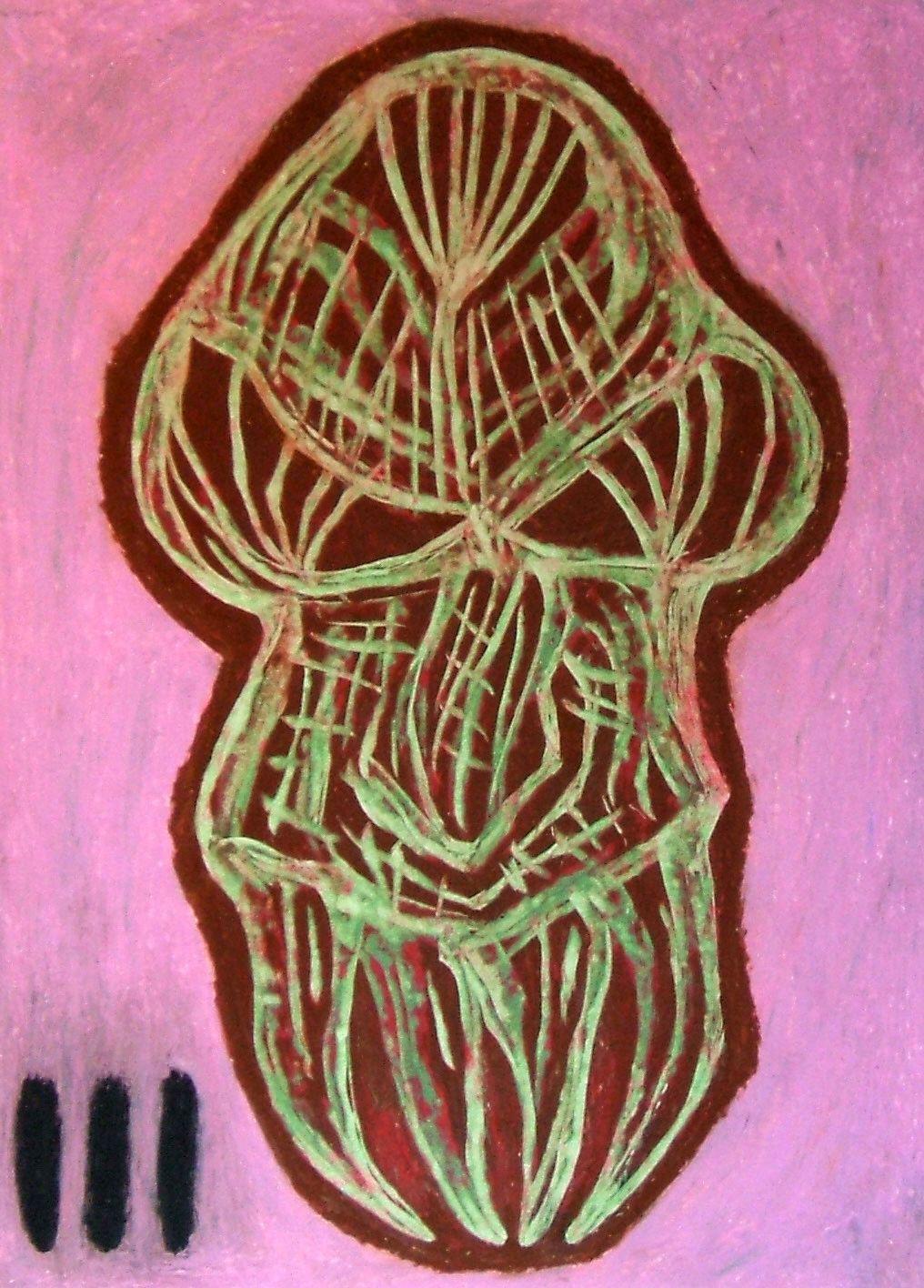 """Teschio alieno II"" 2015 Tecnica mista su cartoncino 38x28 © Pietro Gargano"