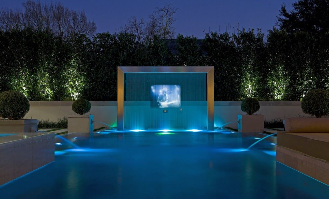 Modern pool with water screen and outdoor tv pools for Pool show tv