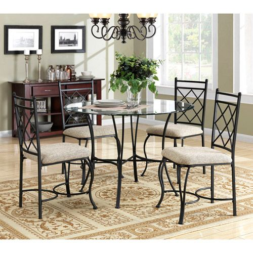 Mainstays 5 Piece Glass Top Metal Dining Set 159 At Walmart