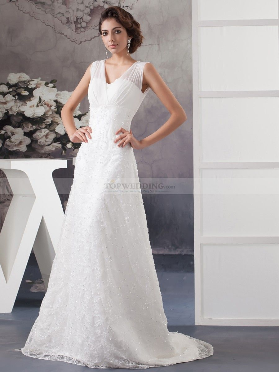 Sheer Shoulder Satin Wedding Dress with Lace Overlay