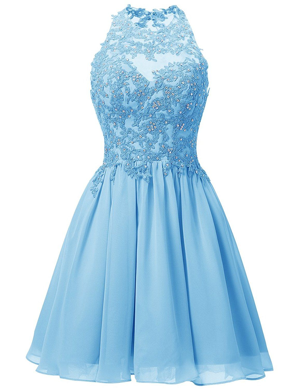 Dresstells Short Chiffon Halter Neck Prom Dress With Appliques