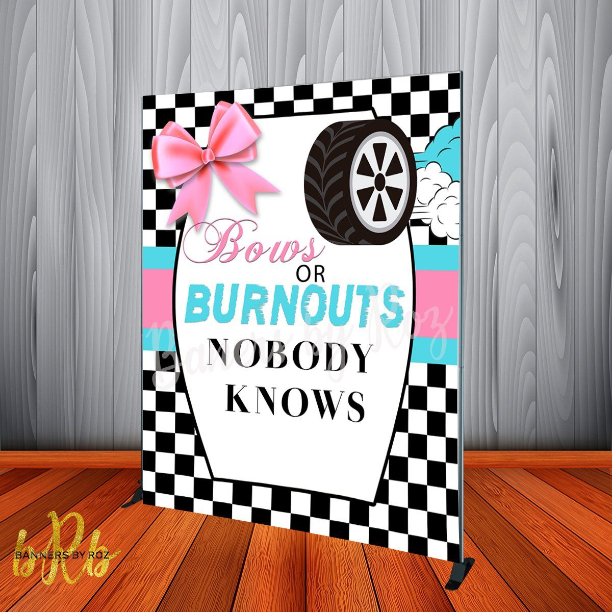 Bows Or Burnouts Backdrop Personalized Step Repeat Designed Printed Shipped Bow Gender Reveal Gender Reveal Party Decorations Gender Reveal Party Theme