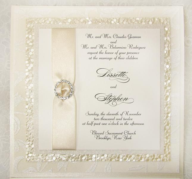 Ivory Wedding Invitation With Texture And Bling