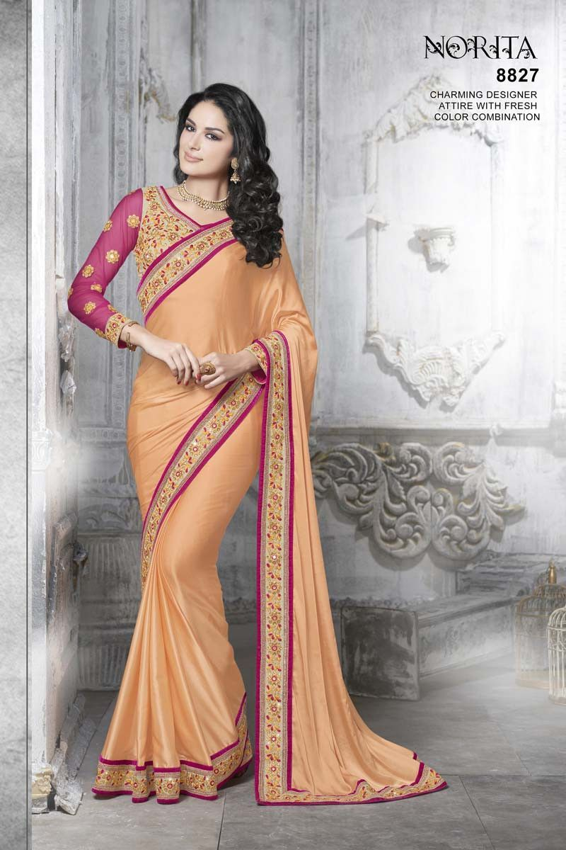 Peach Satin Designer Saree
