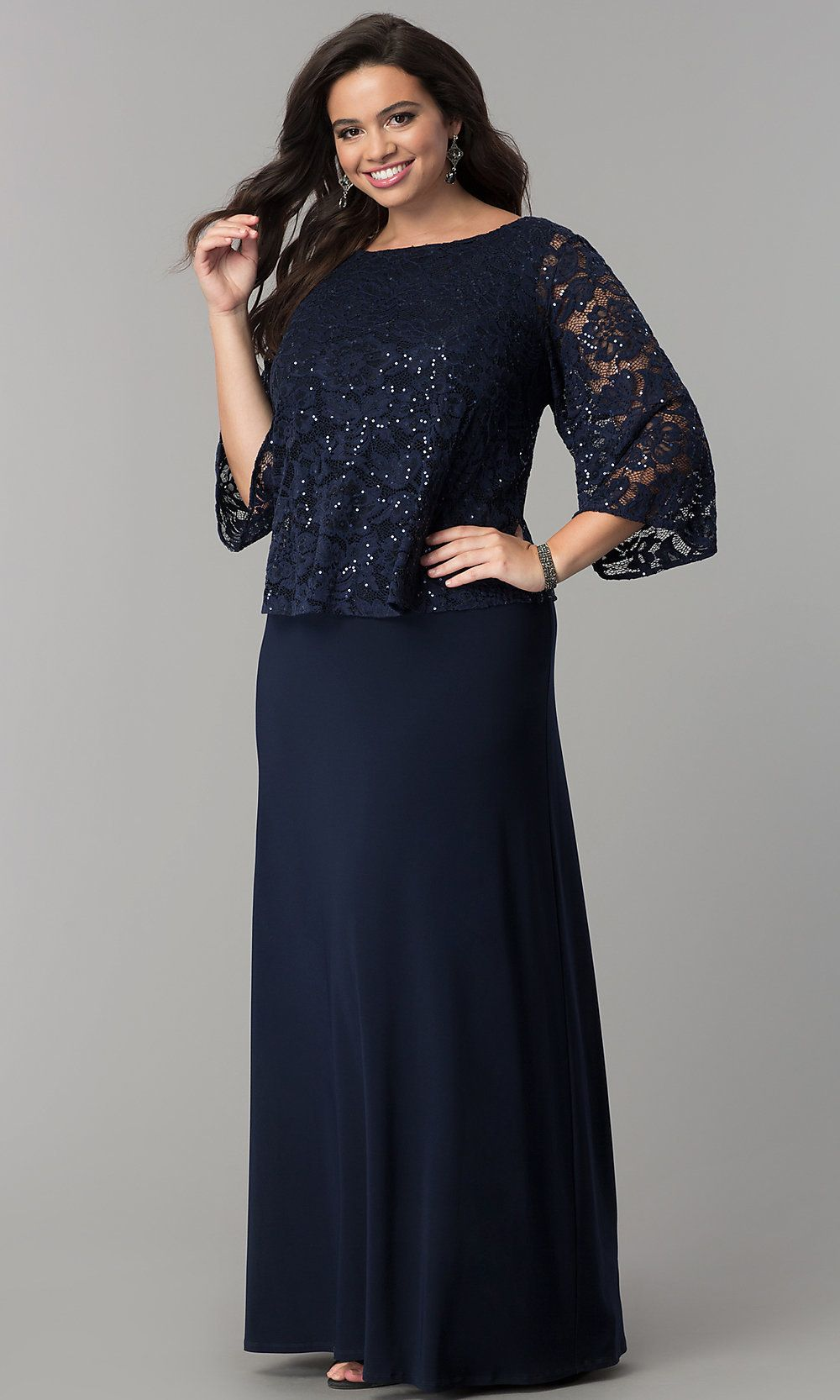 Mob Long Dress With 3 4 Sleeve Lace Popover Bodice Plus Size Formal Dresses Women Dresses Classy Plus Size Holiday Dresses [ 1666 x 1000 Pixel ]
