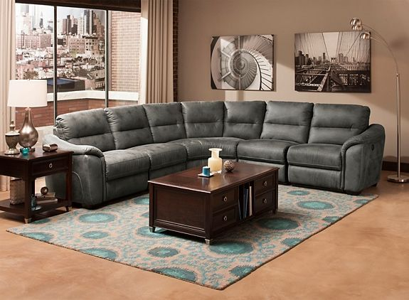 Rockland 5 Pc Microfiber Power Reclining Sectional Sofa Power