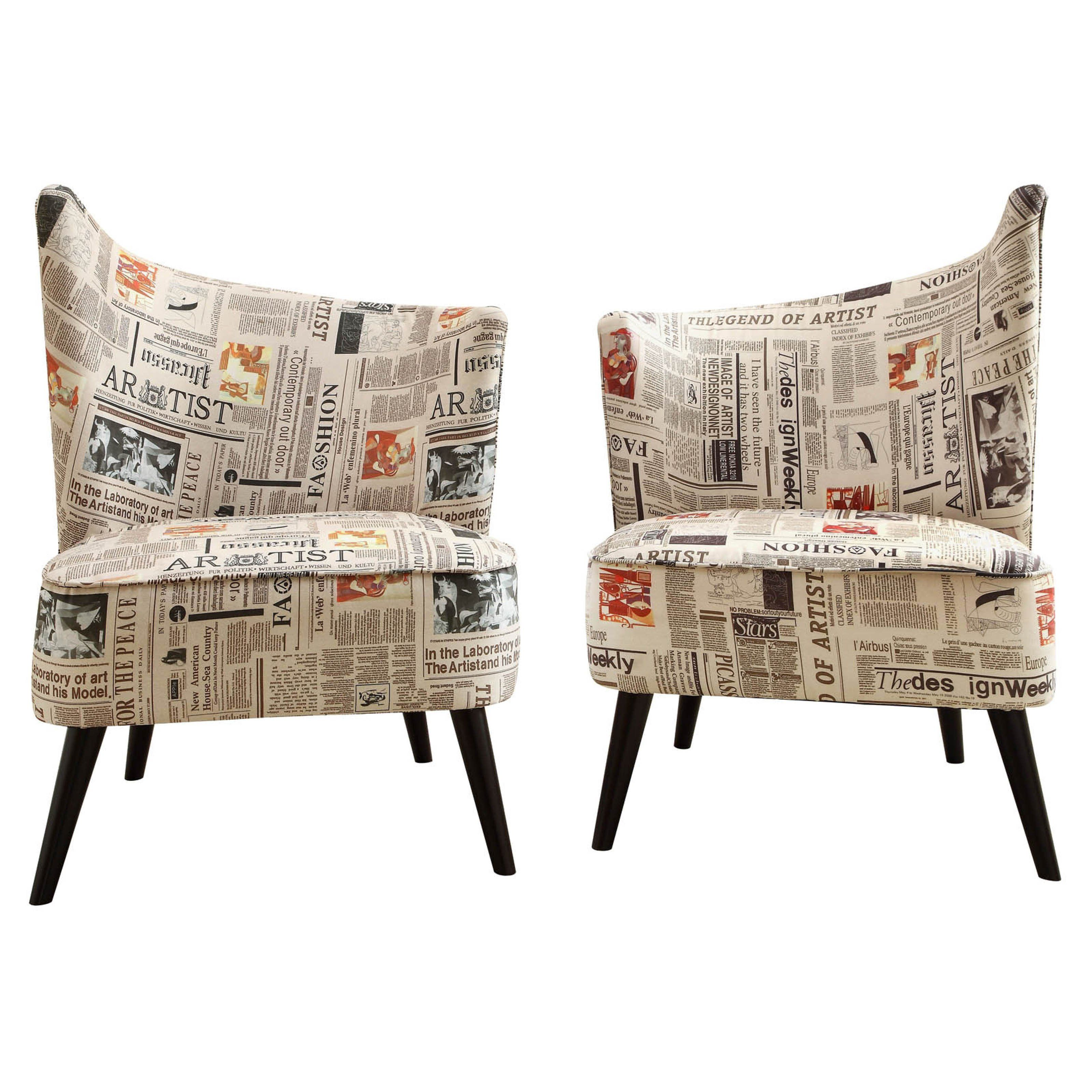 Office Chair? Armen Living Elegant Accent Chair With Flaired Back    Newspaper Fabric | Www
