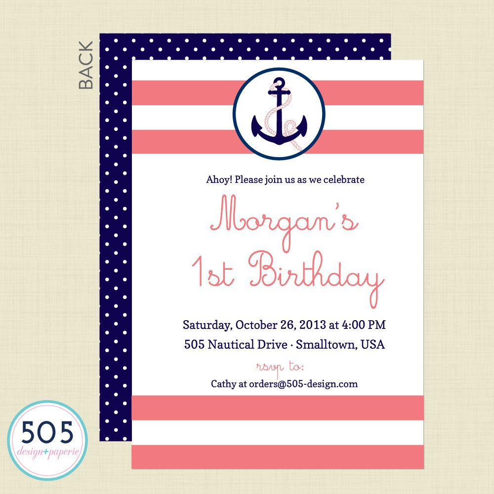 Girls Nautical Party Invitation Sailing Party by 505design, $13.50 ...