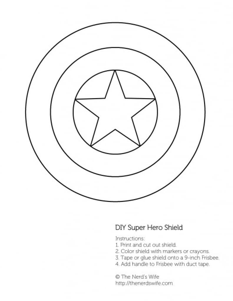 Captain America Shield Coloring Page Pag With Ctr Pages Dazzling