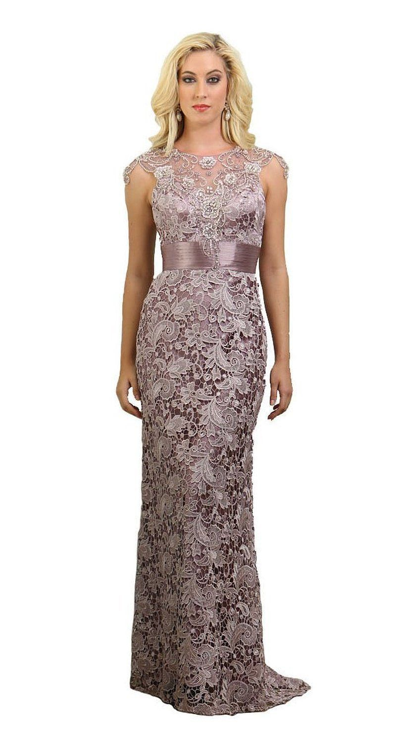 Long lace mother of the bride dress 2018 formal for Formal wedding dresses for mother of the bride