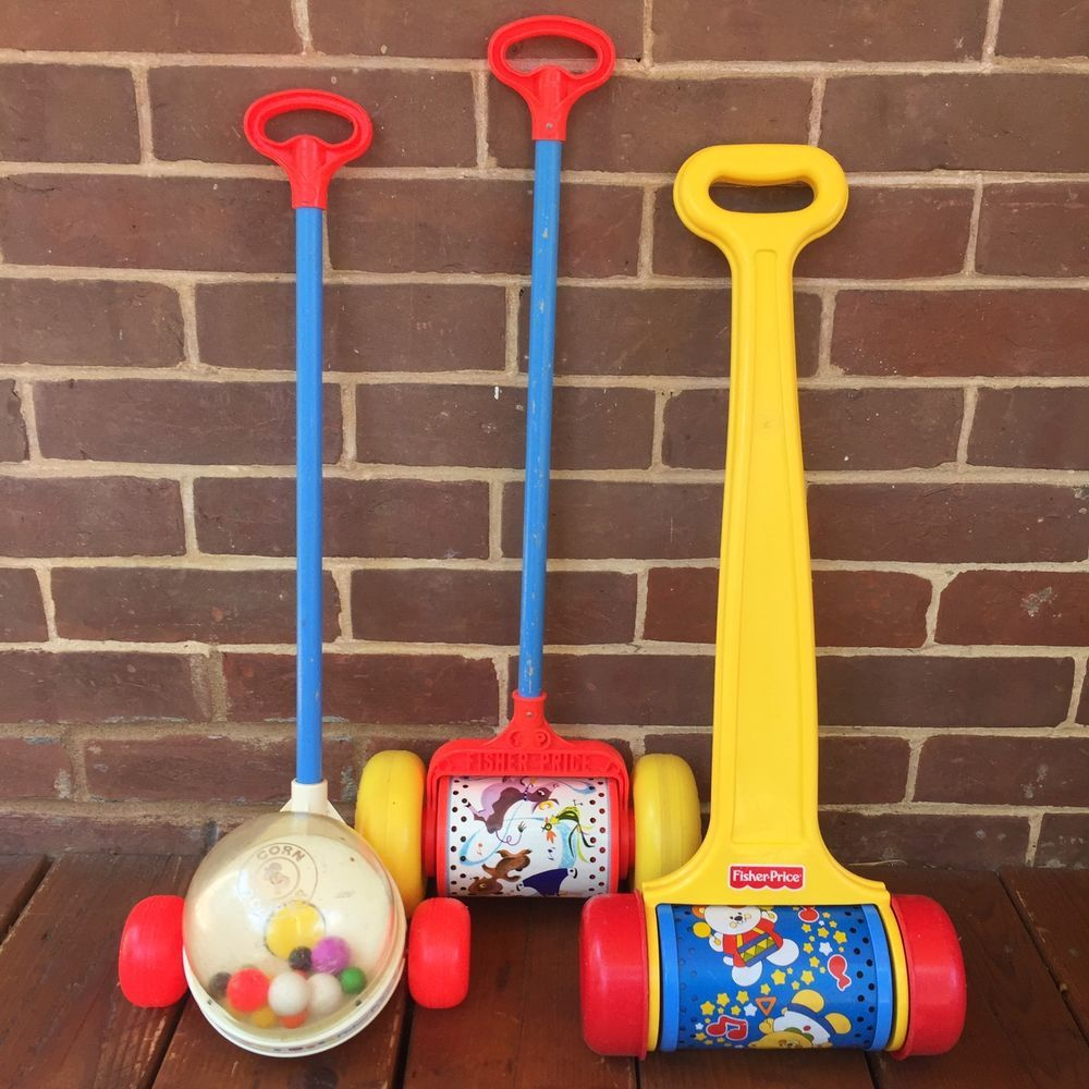 Lot: 3 Vintage Fisher Price Toys Melody Push Chimes Corn Popper #757 ...