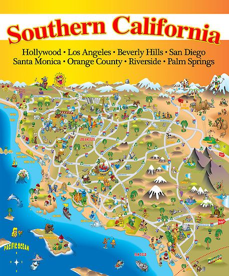 California Map Cartoon.Southern California Visited More Than A Few Times Never Made It