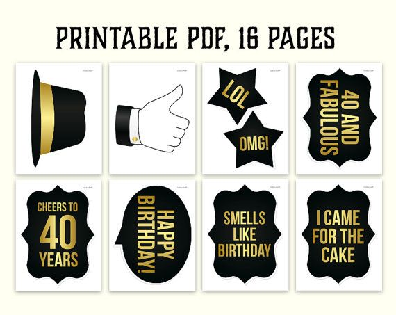 40th Birthday Photo Booth Props Printablepdf Black And Gold
