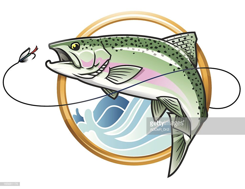 Vector Illustration Of A Leaping Rainbow Trout Going After The