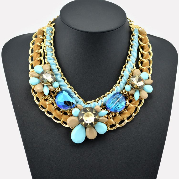 2014 Fashion handmade Gold Bubble Chunky Chain Big Pink Resins Flower Design Charm Bib Statement Necklaces Luxury Jewelry Bijoux
