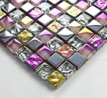 Stainless steel tile glass tiles glass mosaic bathroom tiles SSMT013 modern-mosaic-tile