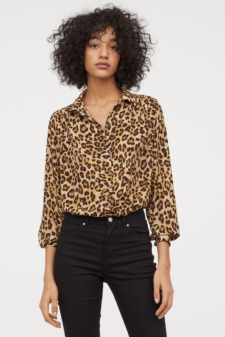 Long Sleeved Blouse Beige Leopard Print Ladies H M Us Long Sleeve Blouse Leopard Print Blouse Leopard Print Fashion [ 1152 x 768 Pixel ]