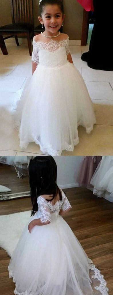 Cute Off Shoulder Tulle Flower Girl Dresses, Popular Lace ...