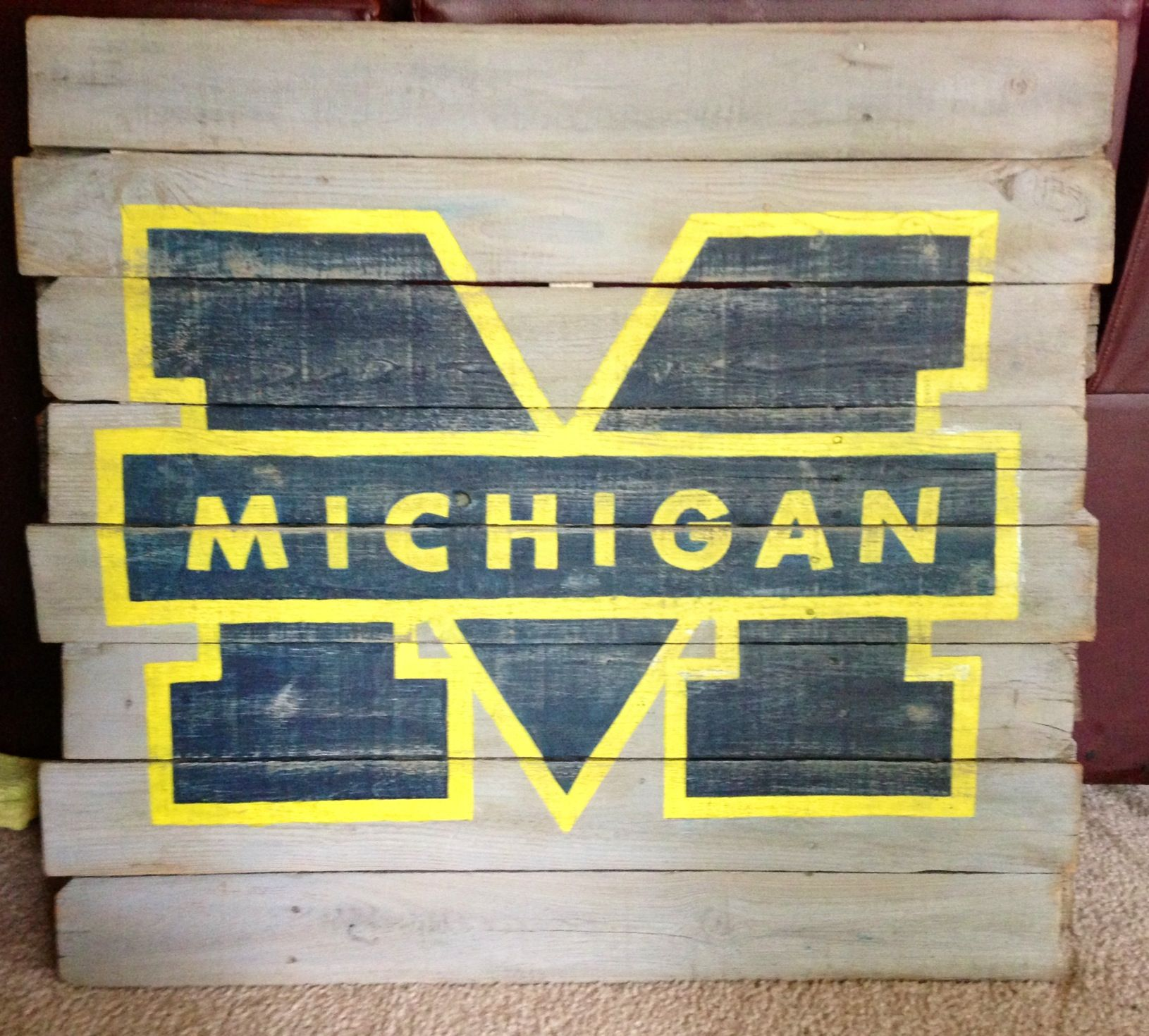 University of Michigan wall hanging. Hand painted on reclaimed wood ...