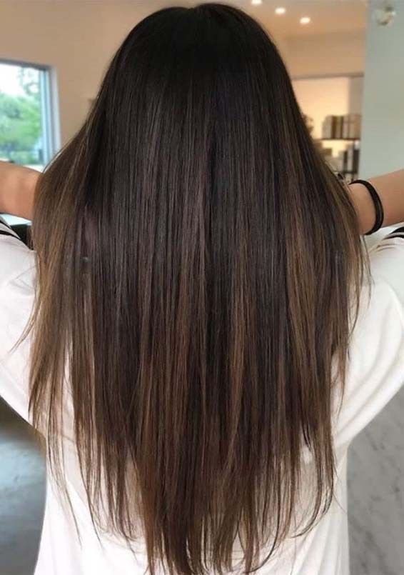 You May Easily Spice Up Your Long Looks With Fantastic Looking Brown Highlights Brown Hair Color Highlights Straight Hairstyles Balayage Brunette Hair Styles