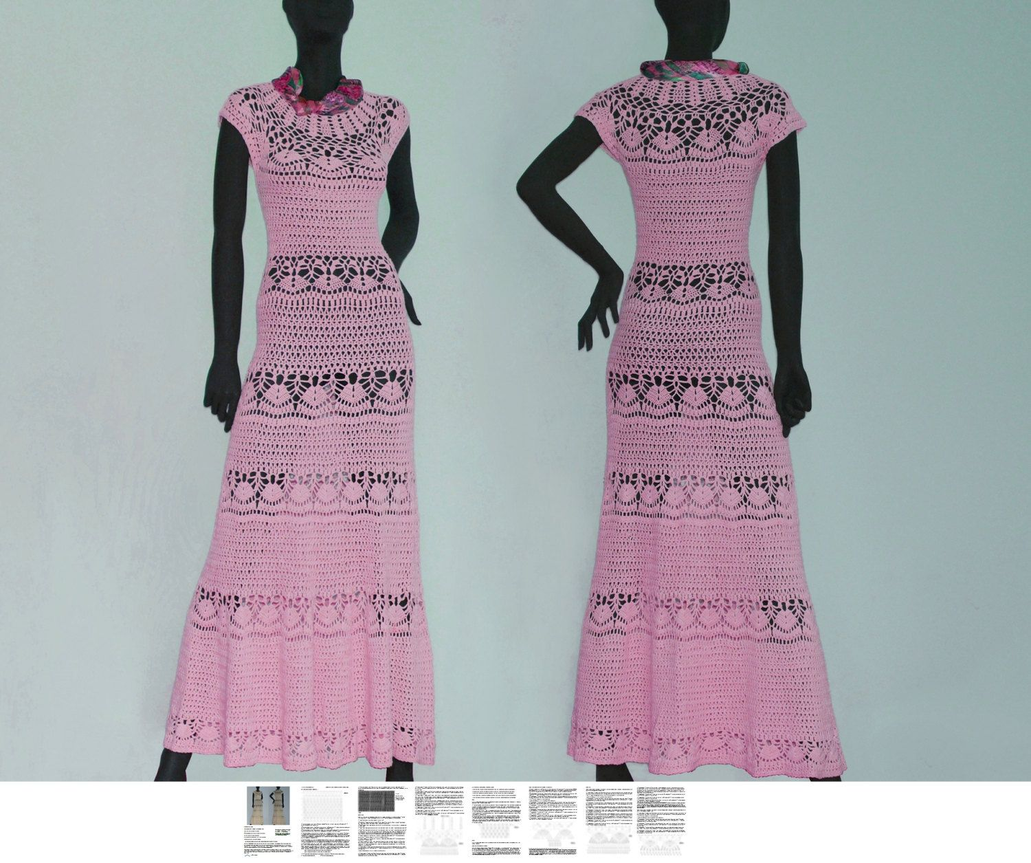 Maxi dress crochet PATTERN, sizes XS-3XL, detailed TUTORIAL for ...