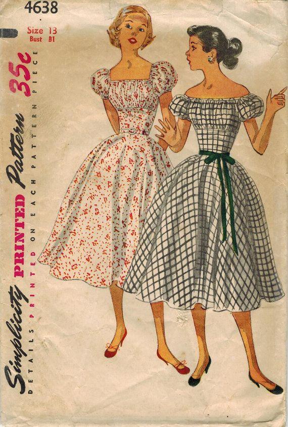 1950s Simplicity 4638 Vintage Sewing Pattern Junior Misses Off ...