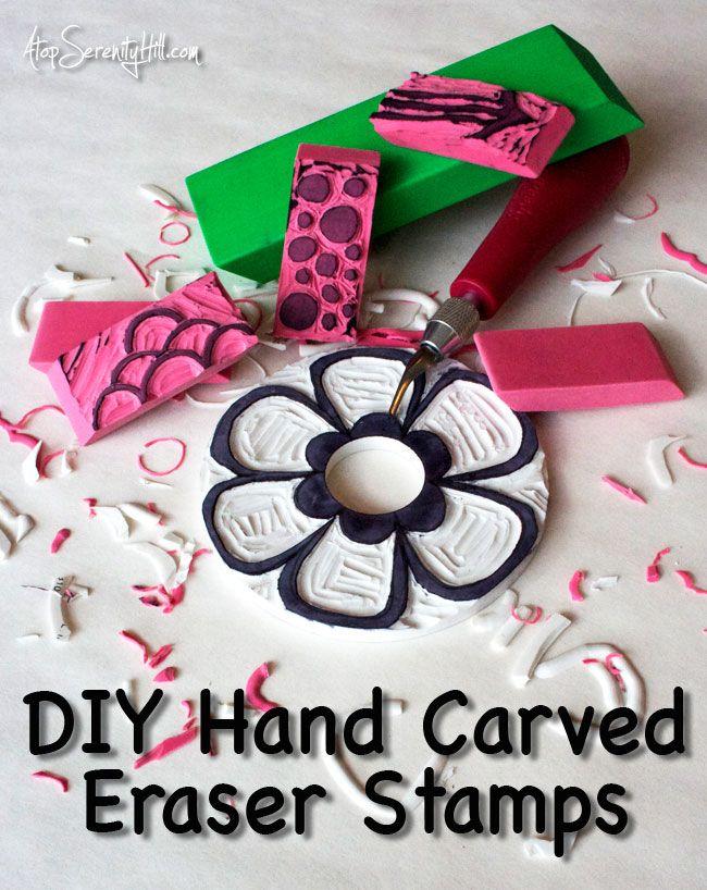 Mão DIY esculpida borracha carimbos de borracha • AtopSerenityHill.com #eraserstamps #rubberstamps #speedball