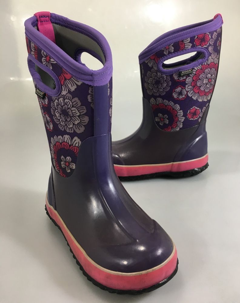 BOGS CLASSIC PANSIES GIRLS KIDS SNOW,RAIN BOOTS SIZE Youth6 NEW