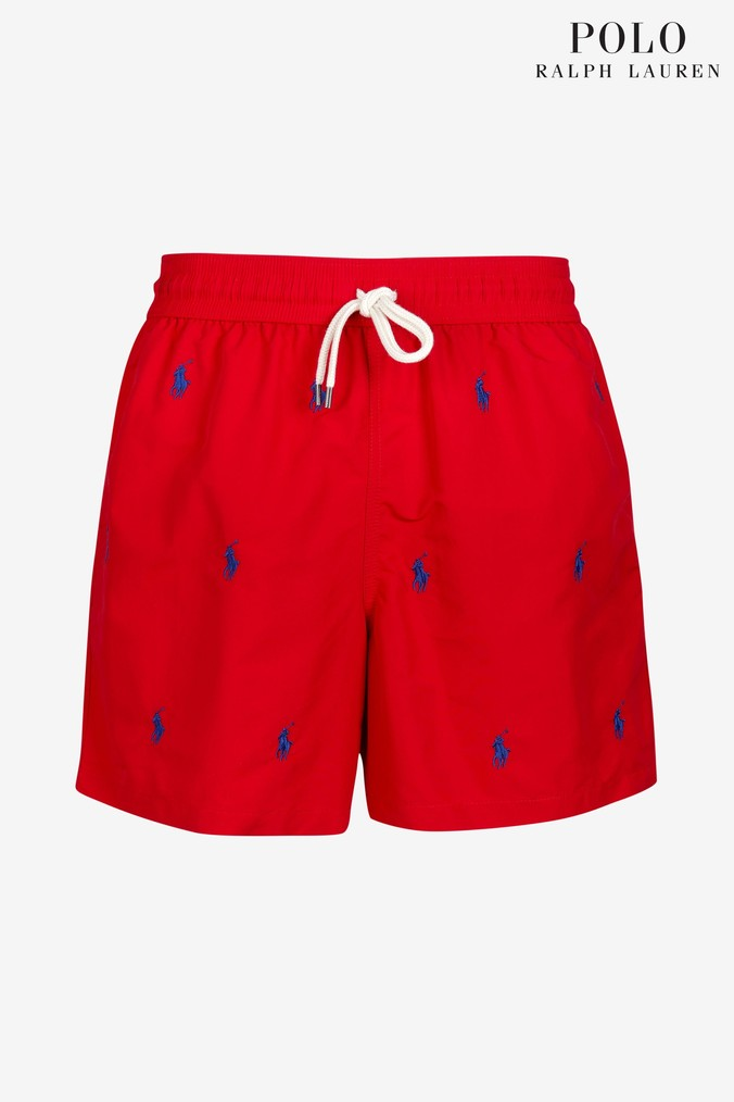 a8bfd72100 Mens Polo Ralph Lauren Red Pony Print Swim Short - Red in 2019 ...