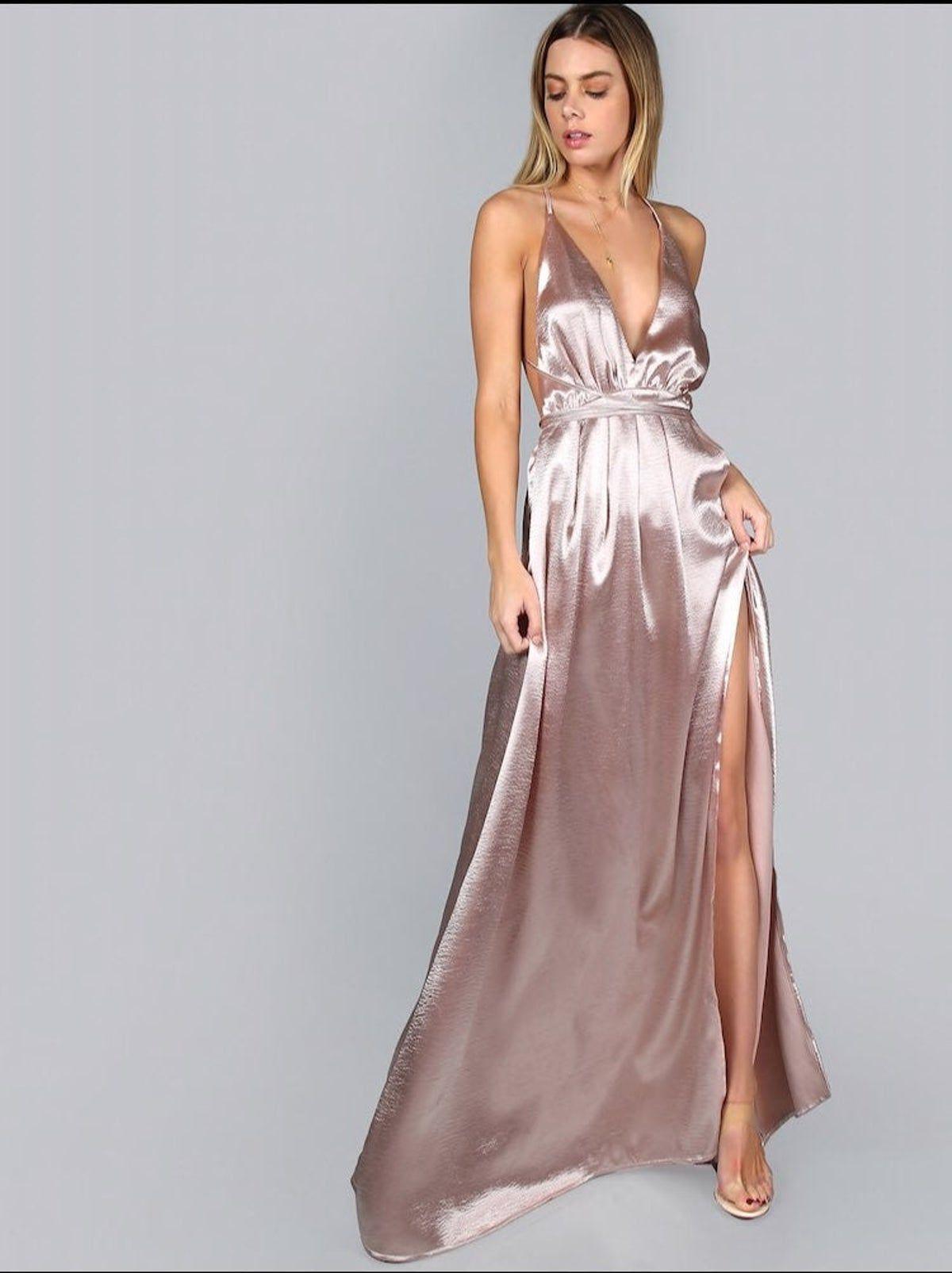 Rose Gold Maxi Dress Pleated Satin Dress Maxi Slip Dress Wrap Cami Dress
