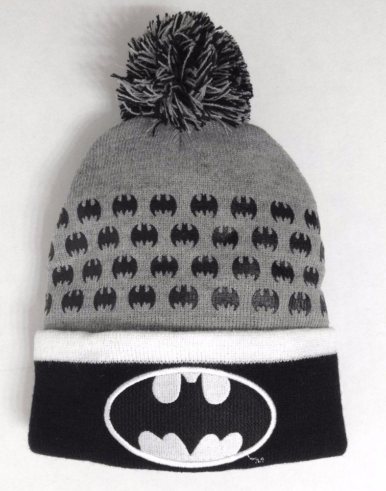 61f4f85463c New 20 BATMAN POM BEANIE Gray Black White Cuffed Winter Knit Hat Cap Men  Women  DCComics  Beanie