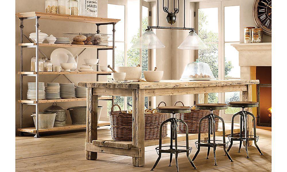 Rooms | RH | Dining-Room | Cocina madera, Mesas de cocina y Mesa ...