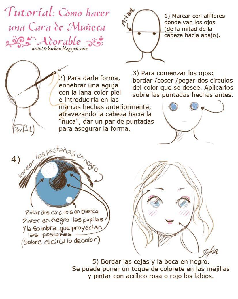 Como hacer una cara de muñeca adorable | Amigurumis | Pinterest ...