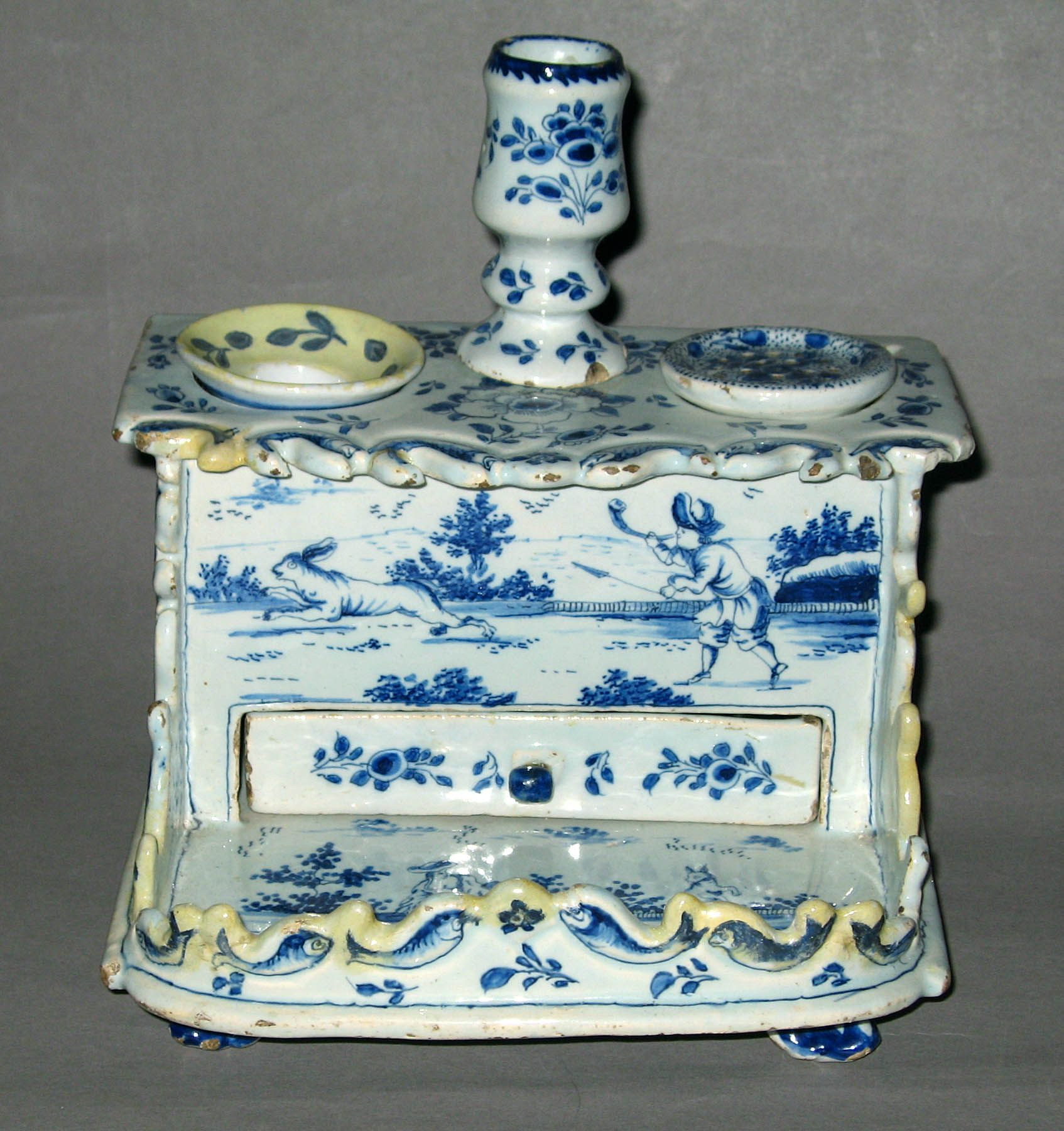 Ceramics Inkstand Inkwell Search The Collection Winterthur Museum Delft White Ceramics Inkwell