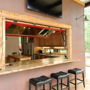 windows to outside bar from the kitchen!