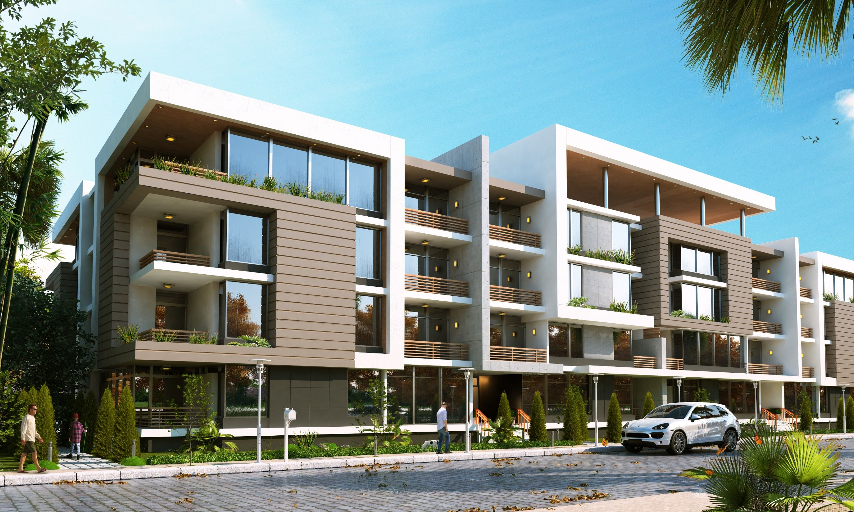 Simple 3 Stories Residential Building Apartment Buildings Building Building Facade
