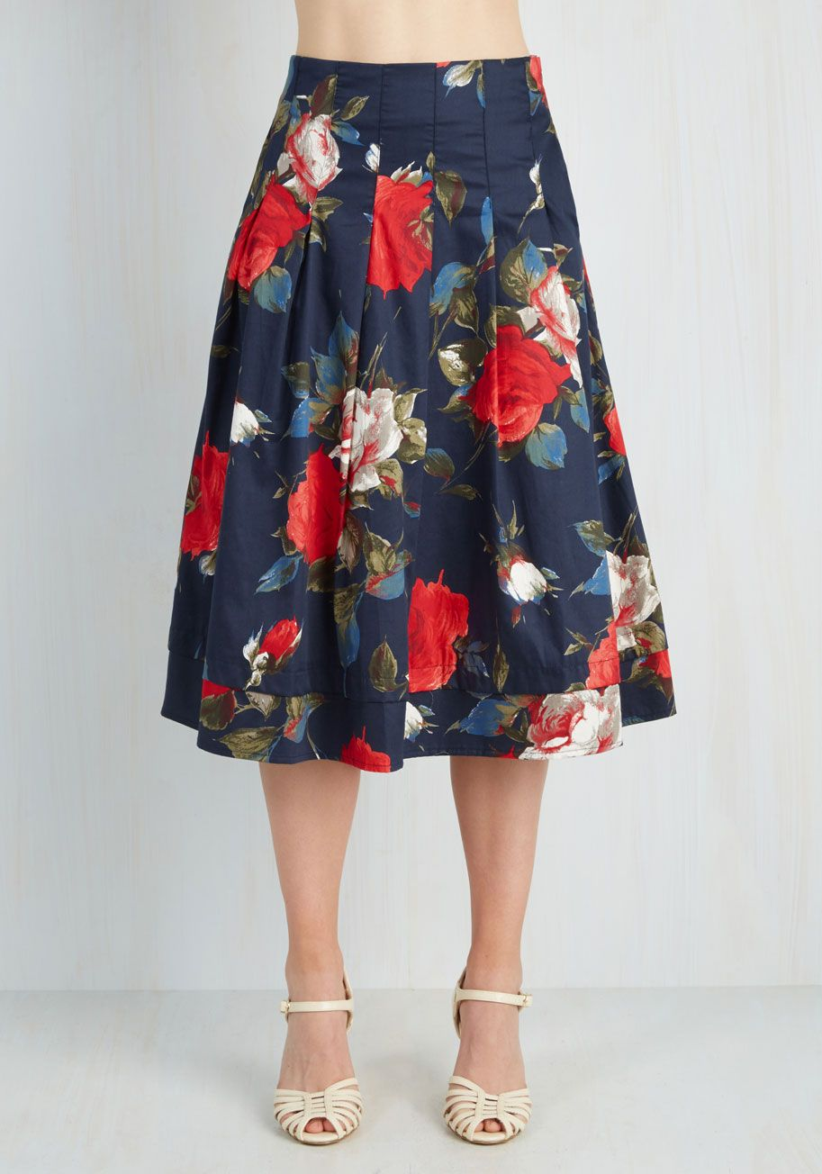 86f067ca Greenhouse Grandeur Skirt in Navy. Your green thumb has been known to  influence your prettiest outfits, and this navy midi skirt fittingly  strikes your ...