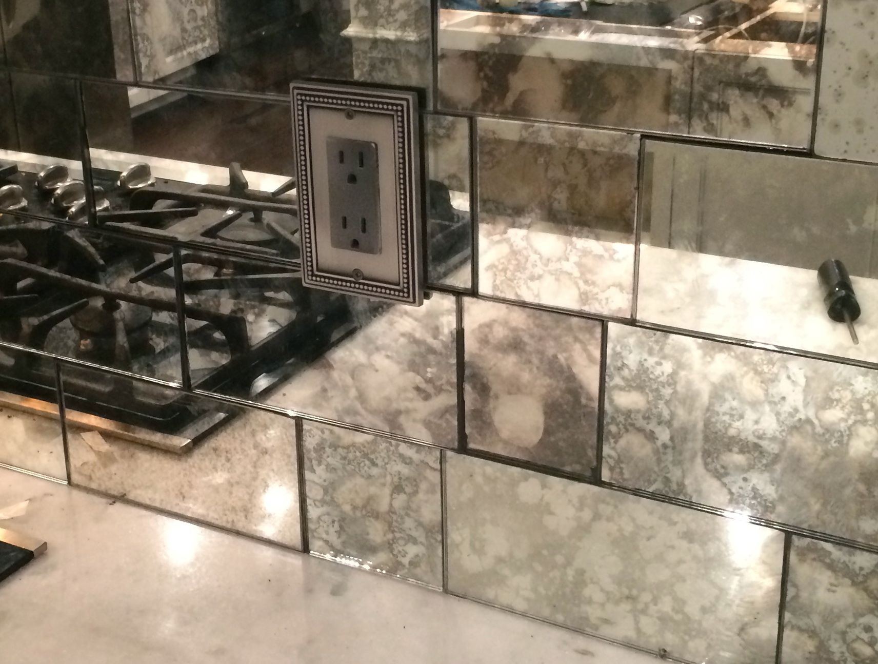 Mercury glass tile backsplash | Kitchen | Pinterest