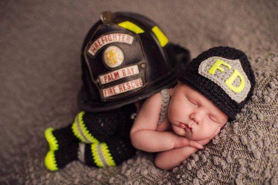 d8b49d3a8 CROCHET PATTERN, 6 Month Size, Baby Firefighter Fireman Hat, Pants ...