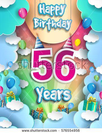 Verjaardag 56.56 Years Birthday Celebration Design For Greeting Cards And