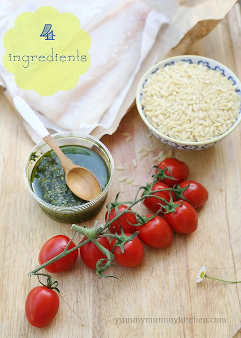Makings of Grilled Tomatoes and Halibut. Only 4 ingredients to this skinny dinner from @Marina/YummyMummyKitchen.com