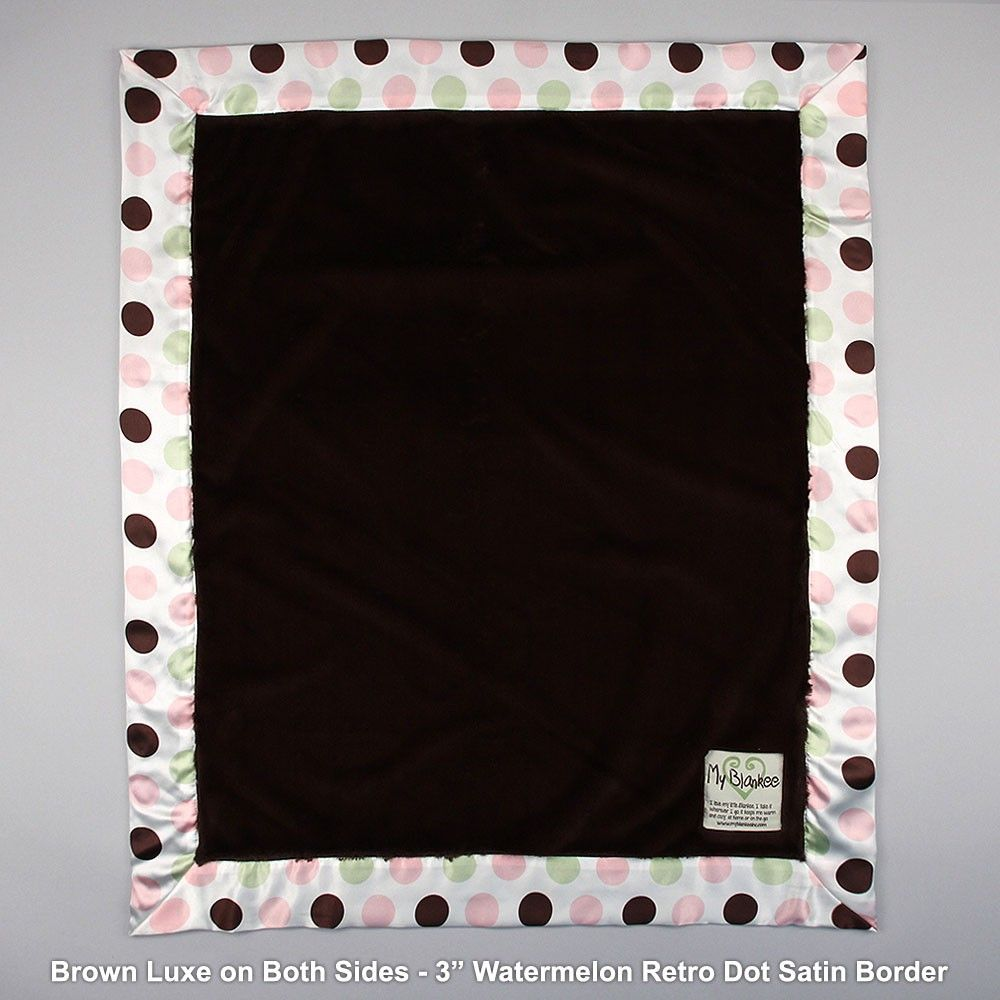 Luxe blanket with retro dot satin border blankets baby girl my