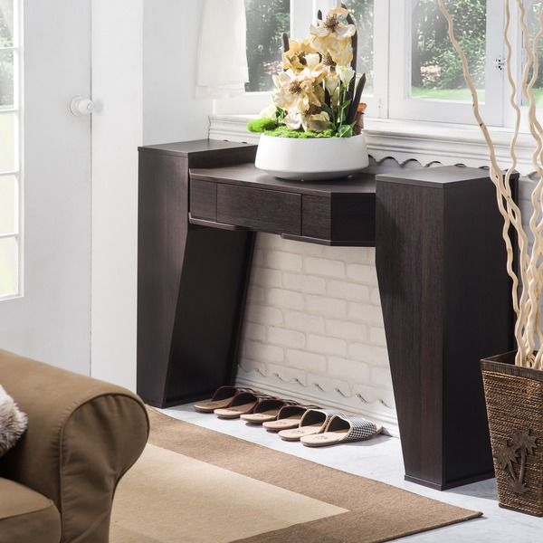 furniture of america crezia espresso console table | live it ...