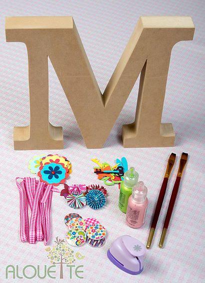 Alouette arte de regalos en madera y papel kits para decorar letras en madera - Letras de madera para decorar ...