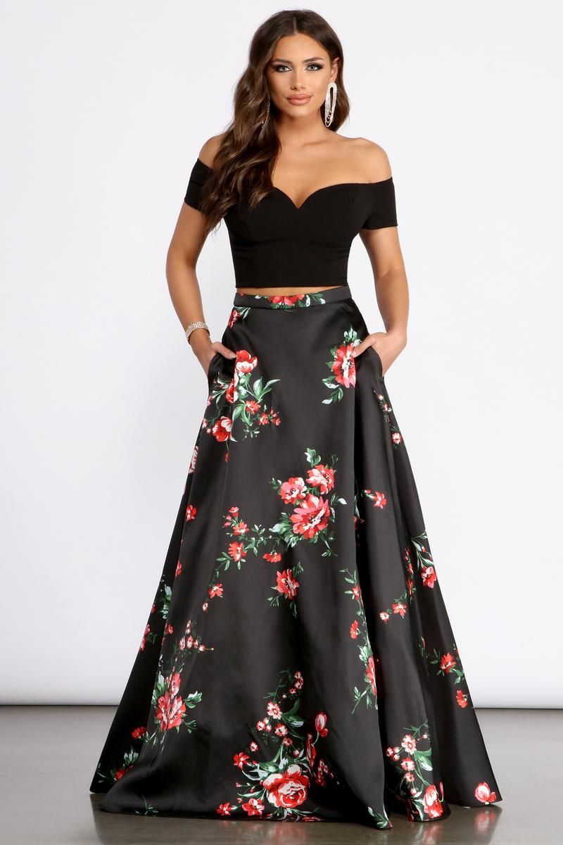 Jeanette Crepe Two Piece Floral Dress In 2021 Floral Prom Dresses Cute Prom Dresses Pretty Prom Dresses [ 1200 x 800 Pixel ]