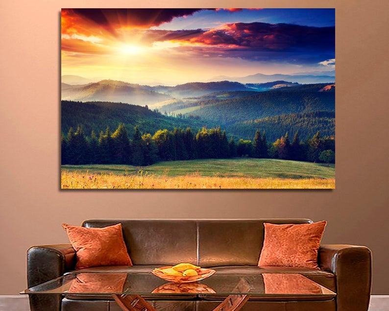 Mountain Sunset Canvas Set Of 5 Panels Wall Art Mountain Etsy Sunset Canvas Canvas Set Mountain Wall Art
