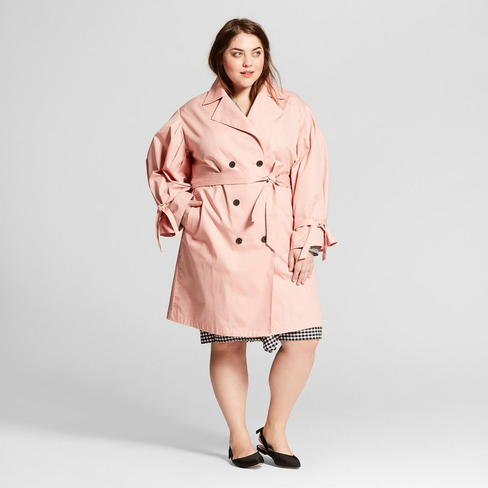 Women's Plus Size Puff Sleeve Trench Coat Who What Wear