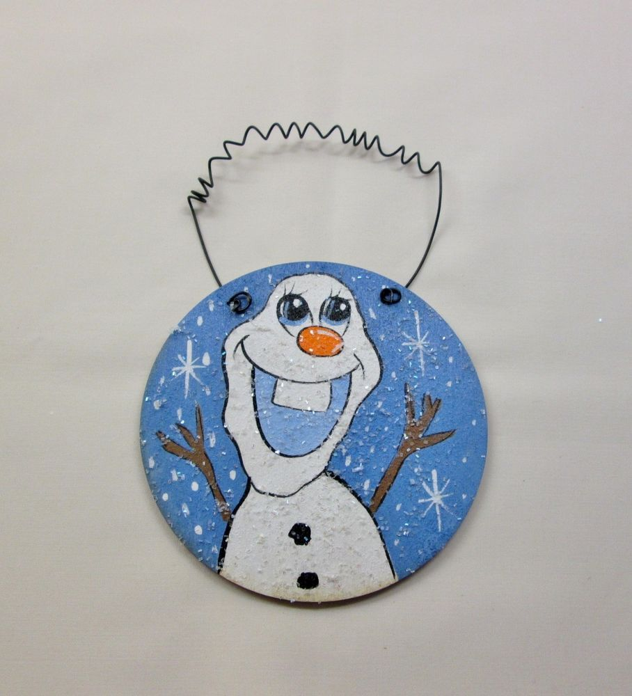 Olaf Snowman Handpainted HP Wooden Christmas Ornament w/Curly Wire ...